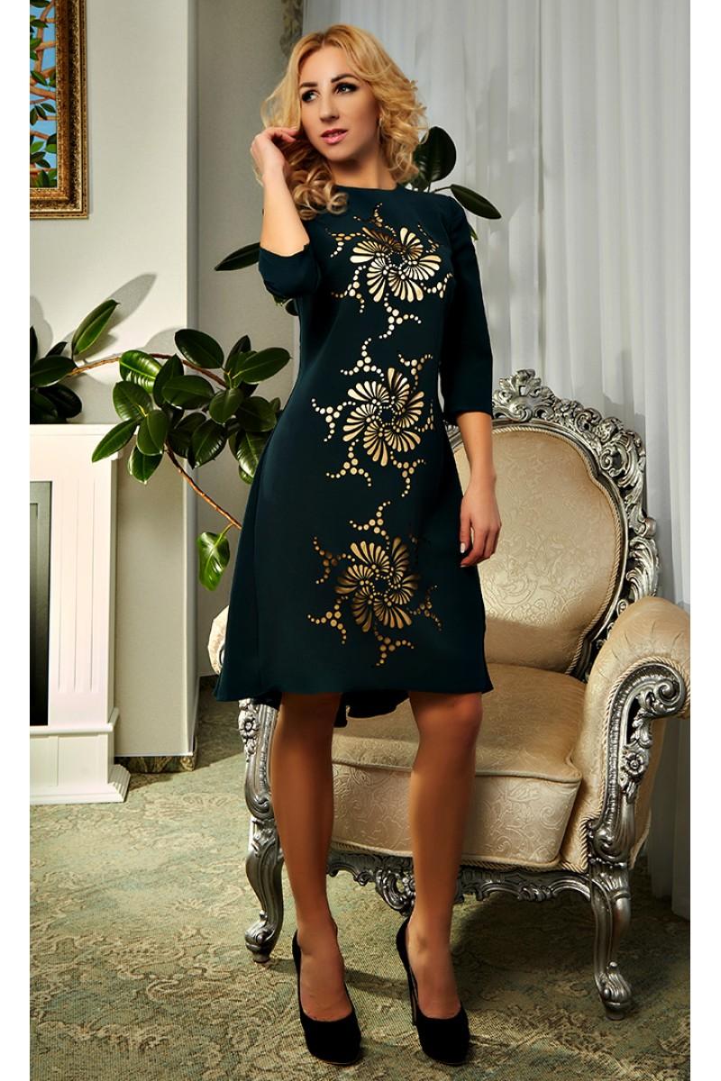 c36b0b3b8db Купить зеленое платье с перфорацией 2018 Кармен AD19504 недорого от ...