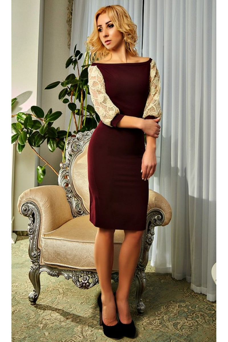 Купити коктейльне плаття кольору марсала 2018 Ауріка AD19801 від ... b7938ad23dcfb