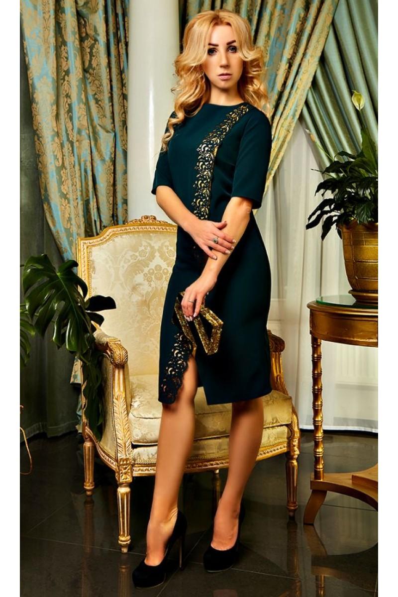 d5afbab7f60 Купить изумрудное платье София AD20902 с перфорацией недорого от ...