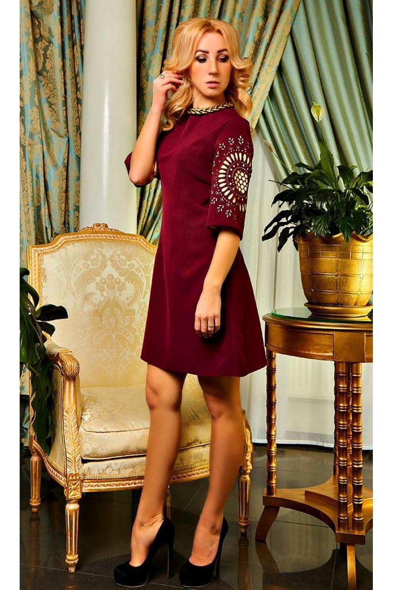 Купити коктейльне плаття кольору марсала Шерон AD21003 весна 2018 ... ec4ee29c01024