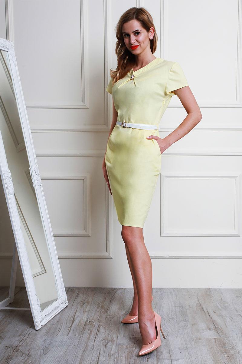 9b34095588f0 Купить желтое льняное платье AL58801 с пояском недорого от ...
