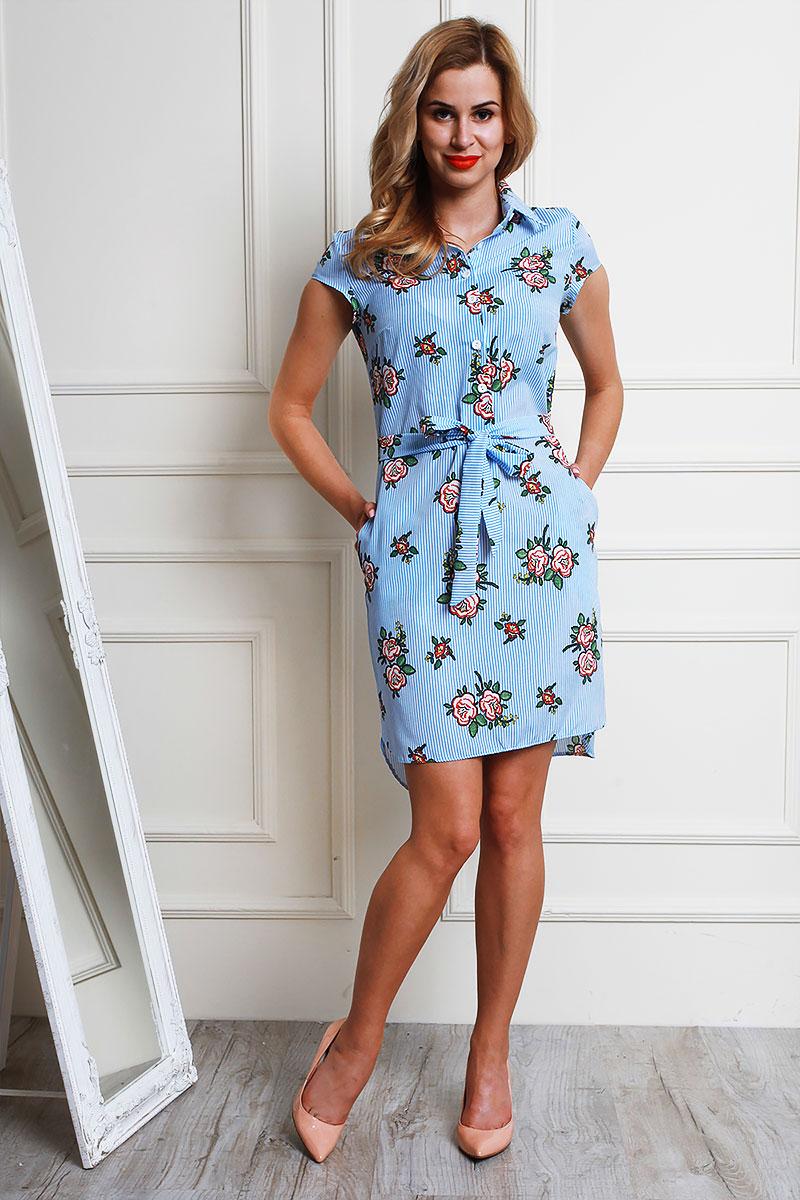 4399c0df4f310e Купити блакитне літнє плаття AL59001 з квітами від виробника з ...