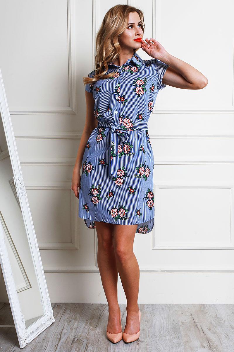 a99b4eaac1ccbb Купити літнє плаття AL59003 електрик з квітами від виробника з ...