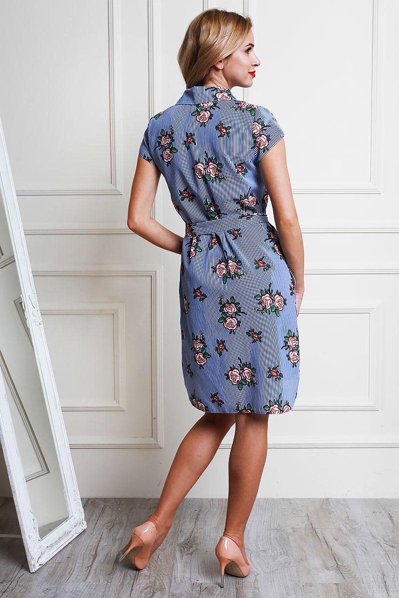 Купить летнее платье AL59003 электрик с цветами недорого от ... 9bef3bab134