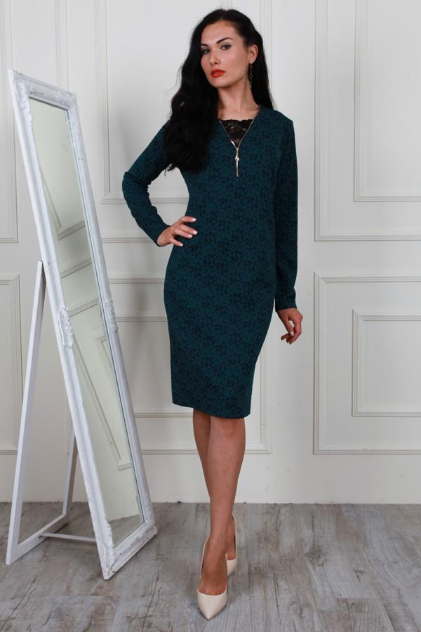 Темно-зелене осіннє плаття AL63401 прямого фасону