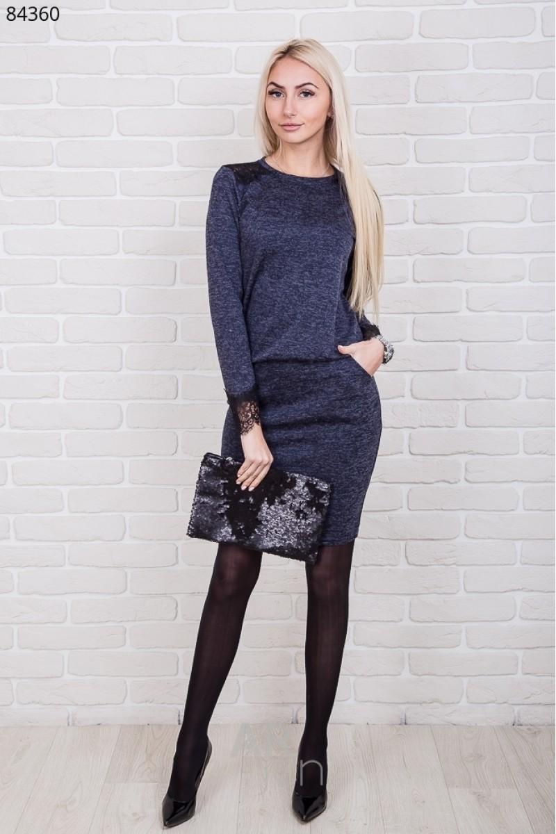Купити синє трикотажне плаття 2018 AR8436005 з мереживом від ... 439d1386c1c43