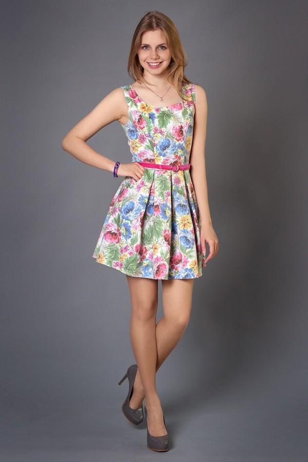 Платье Малибу 99 молочный/цветы