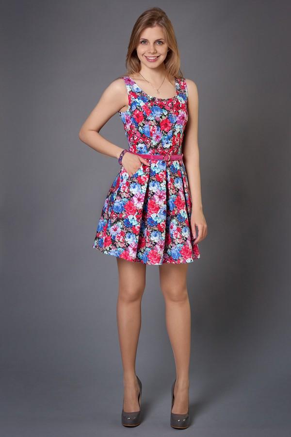 Платье Малибу 99 коралл/голубой
