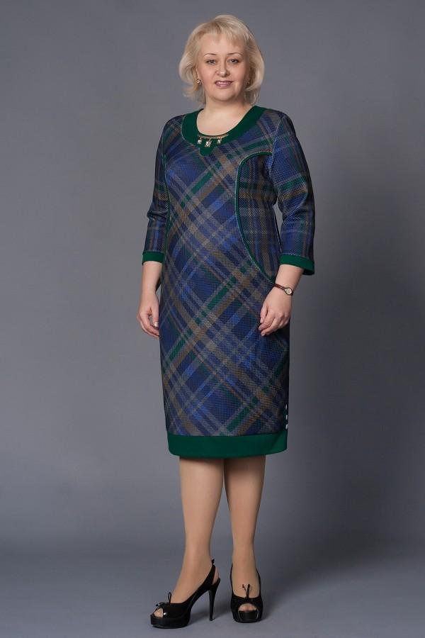Плаття Аверла 157 зелений / клітина