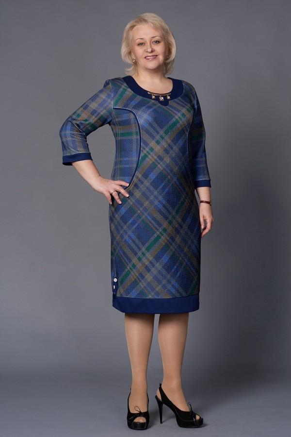 Платье Аверла 157 синий/клетка