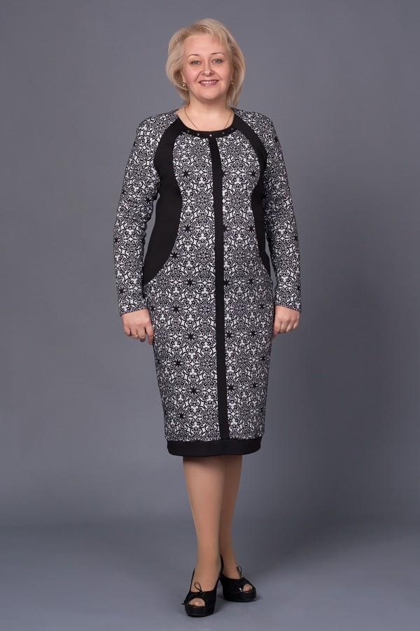 Платье Марго 167 чёрно-белый/цветок