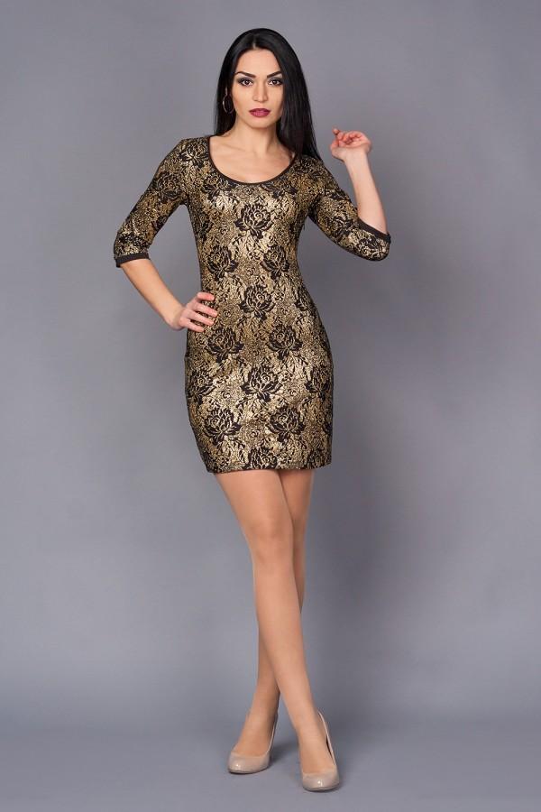 Платье Шери 174 новое золото/цветок