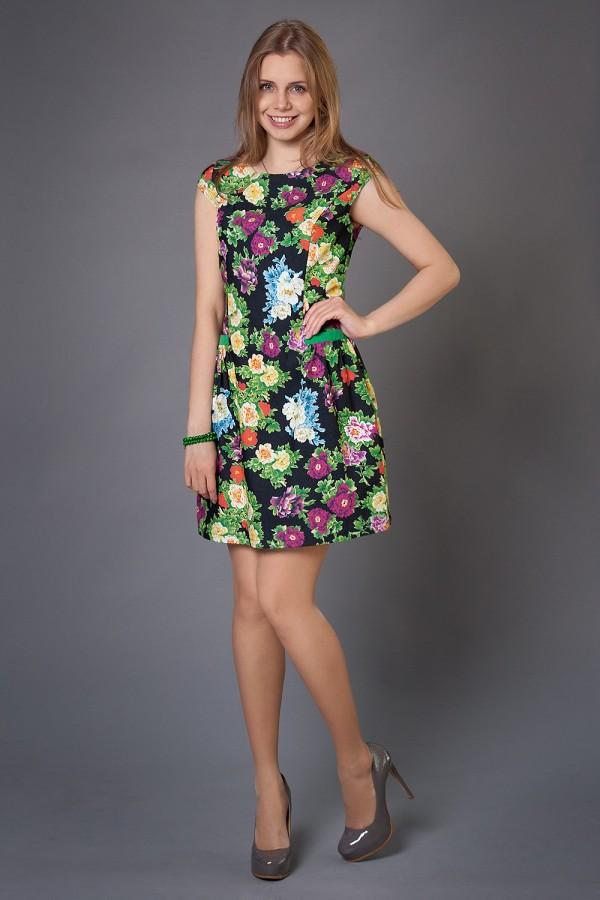 Плаття Дерін 190 чорний / квіти