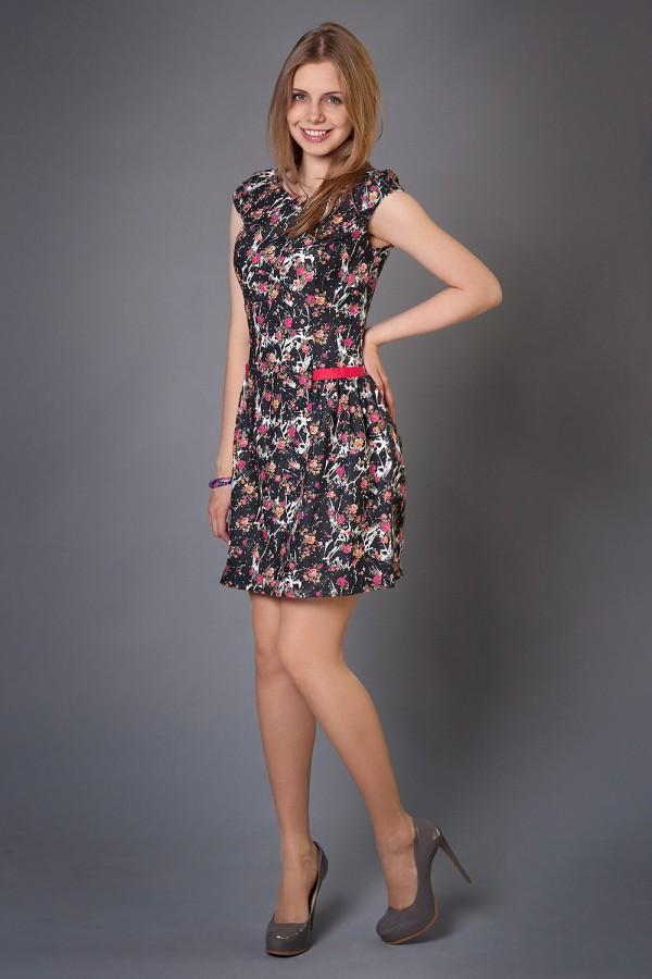Платье Дерин 190 чёрный/абстракция