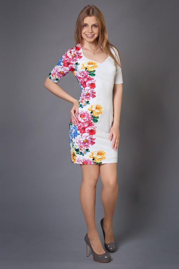 Платье Флорика 192 белый/цветы