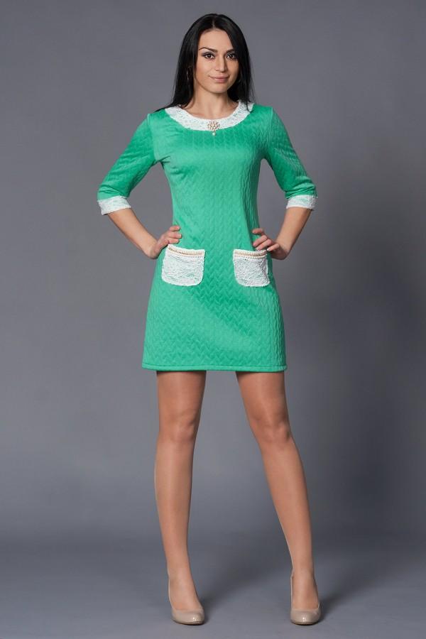 Платье Шанель 211 бирюза