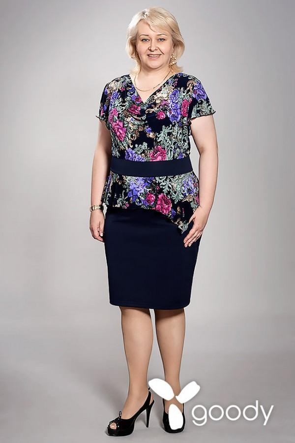 Платье Амаретта 106 тёмно-синий/фиолетовые цветы