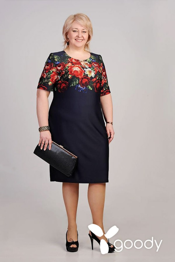 Плаття Коста 138 темно-синій / маки