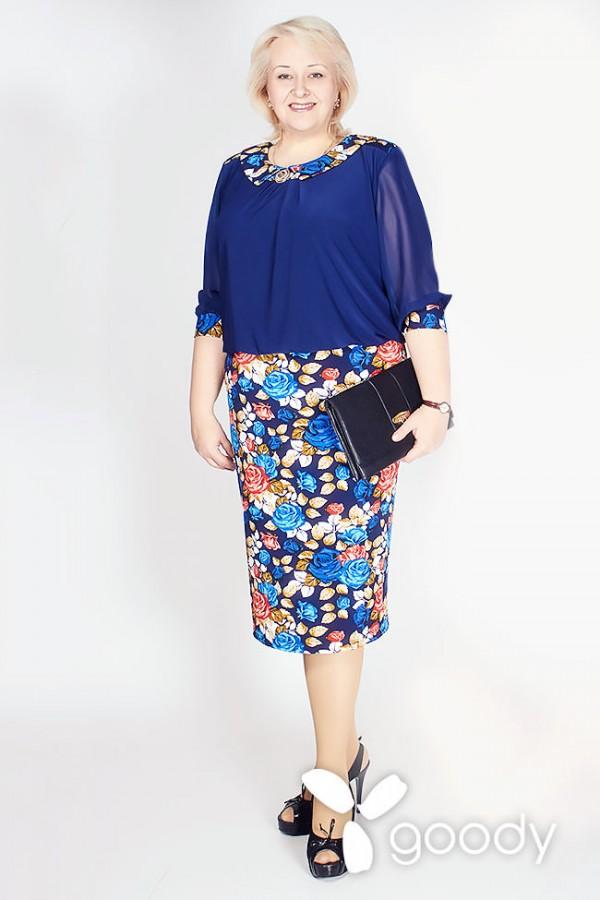 Платье Малате 161 синий/голубые цветы