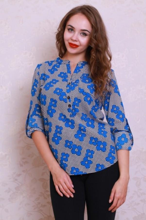 Блуза 434 черно-белый/голубые цветы