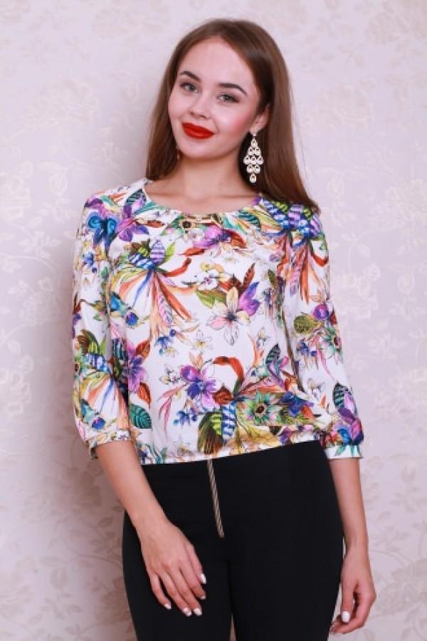 Блуза 434 белый/цветы