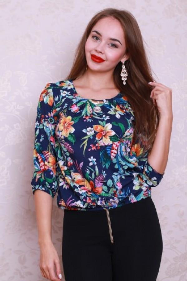 Блуза 434 тёмно-синий/цветы