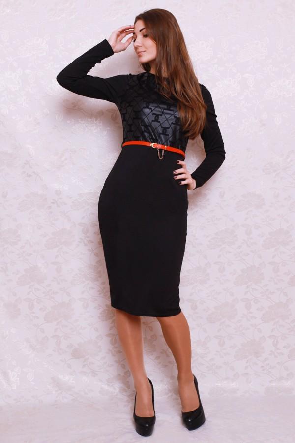 Платье 398 чёрный/квадратики