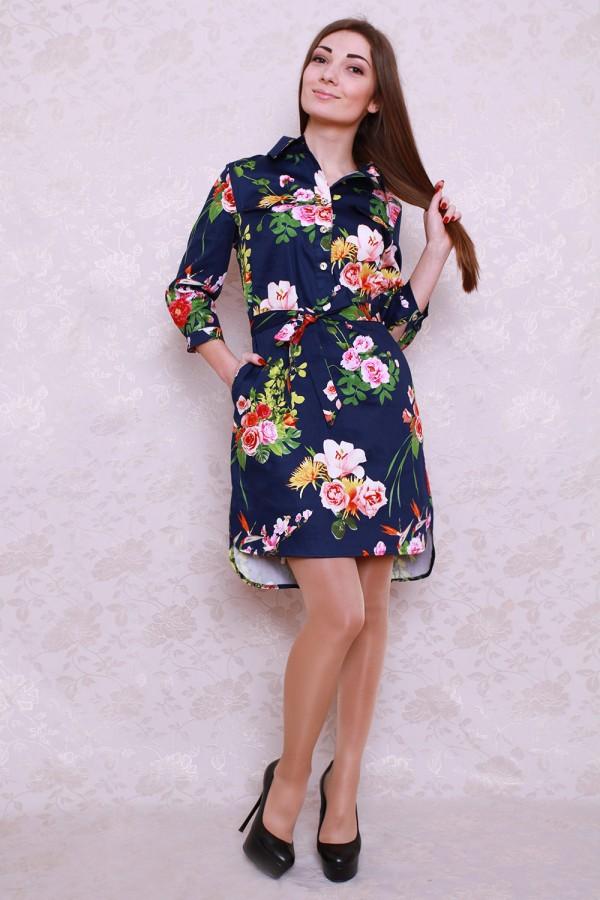 Платье 427 синий/яркие цветы