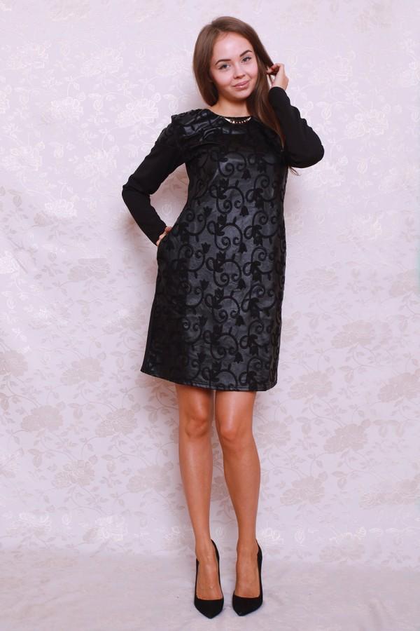 Платье 387 чёрный/кружочки