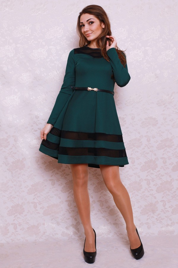 Платье 395 тёмный бутылочный