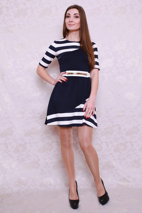 Плаття 426 темно-синій / білий