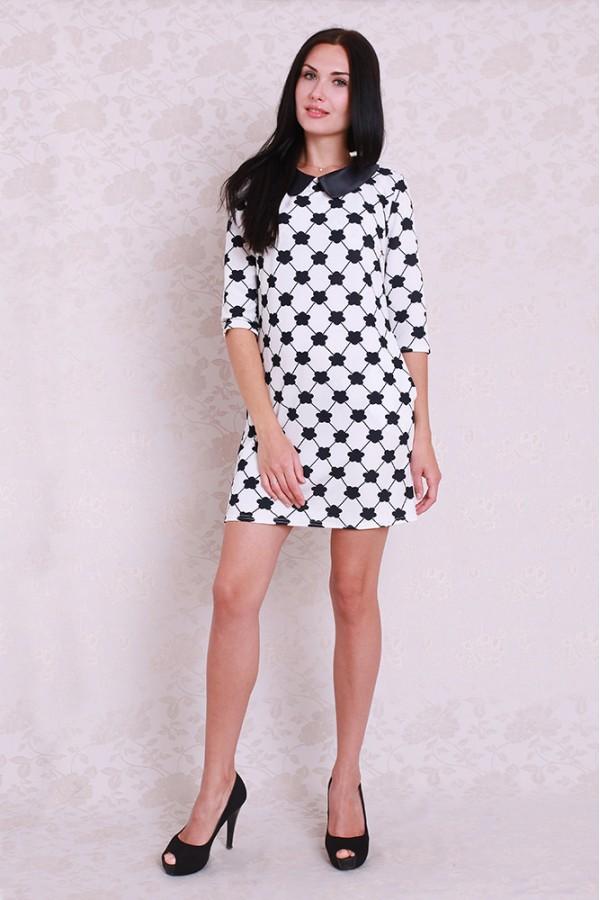 Платье 355 белый/чёрный цветок