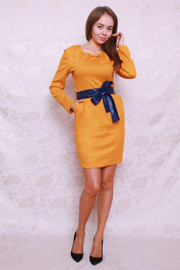 Платье 384 горчица