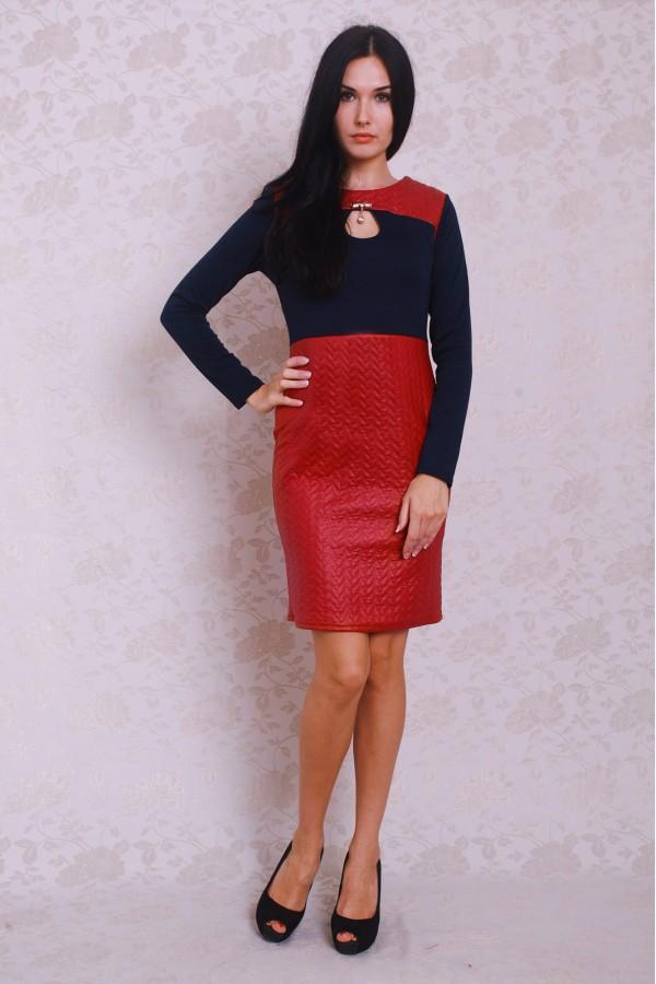 Платье 381 тёмно-синий/бордовый