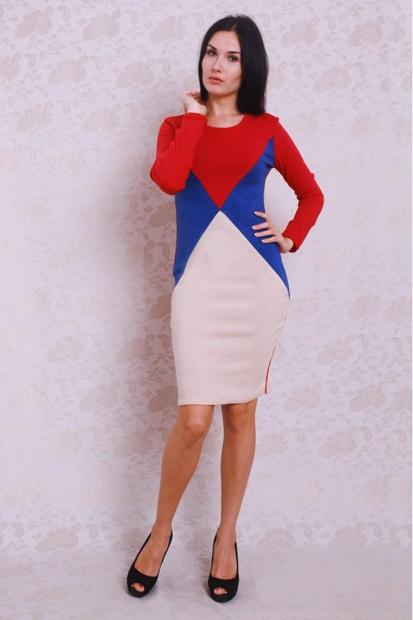 Платье 379 красный/беж/электрик