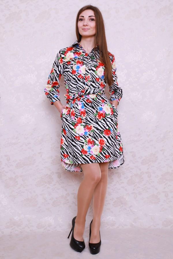 Платье 427 чёрно-белый/яркие цветы