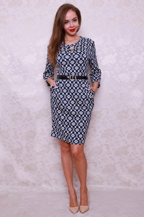Платье 442 тёмно-синий/белый узор