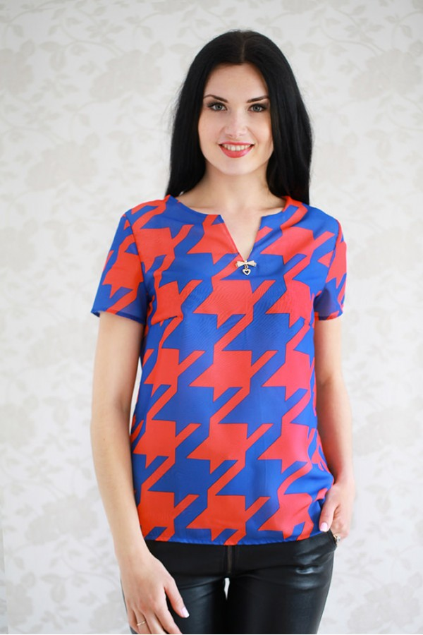 Рубашка 314 электрик/красный