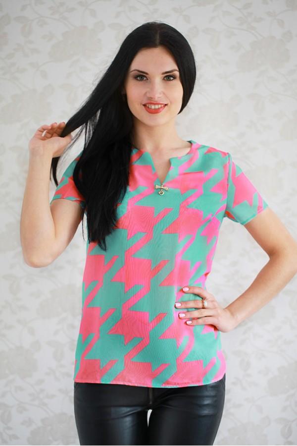 Рубашка 314 мятный/розовый
