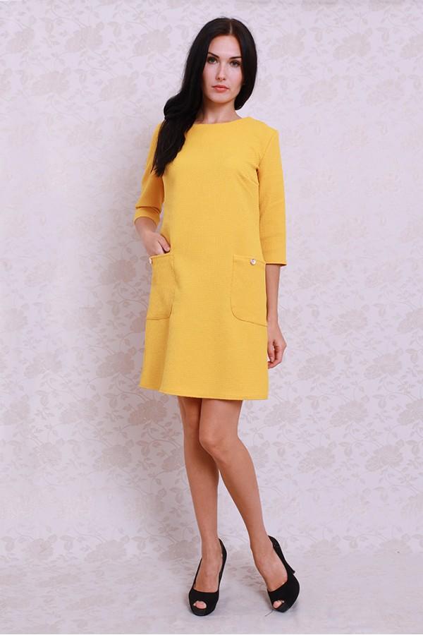 Платье 359 горчичный