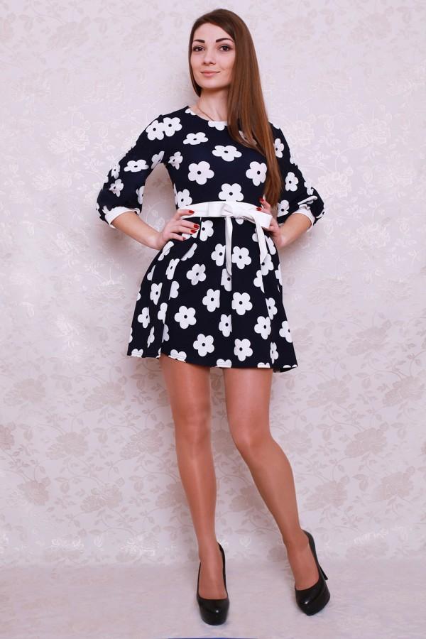 Платье 423 тёмно-синий/белые цветы