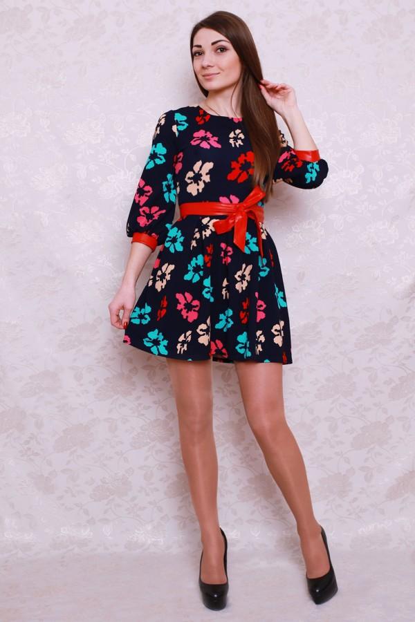 Платье 423 тёмно-синий/разноцветные цветы