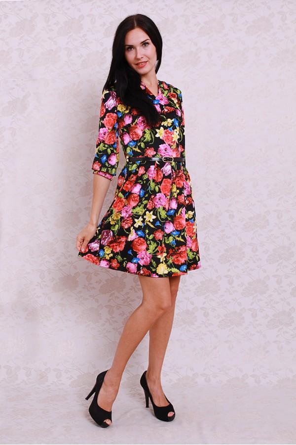 Платье 361 чёрный/цветы