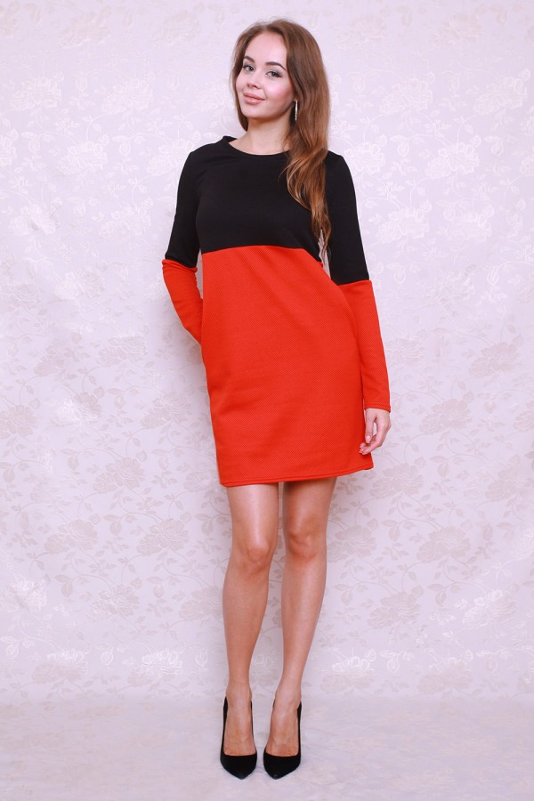 Платье 393 чёрный/красный