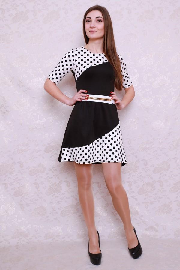 Платье 426 чёрный/белый