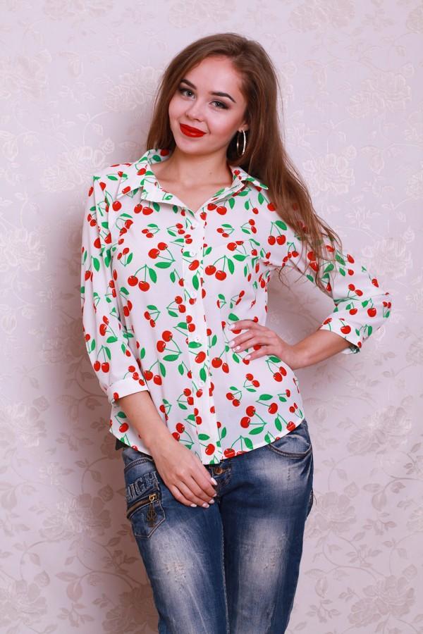 Сорочка 445 білий / вишня