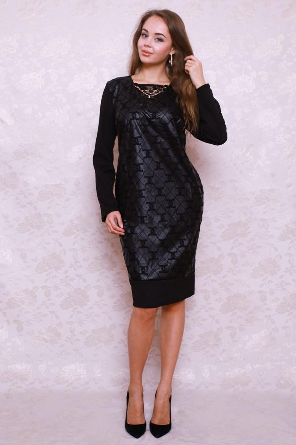 Платье 390 чёрный/квадратики