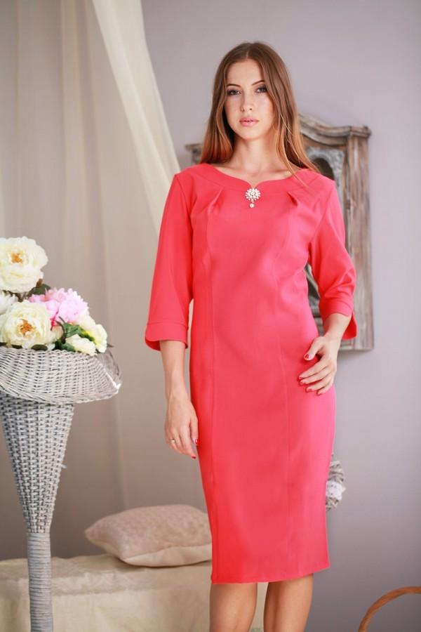 Платье 165 яркий коралл