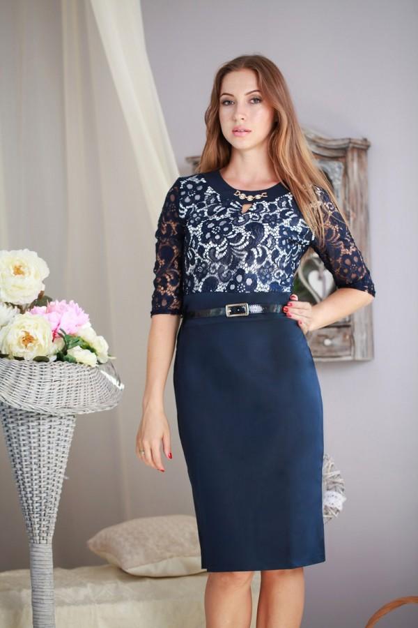 Платье Ольга 140 тёмно-синий/белый