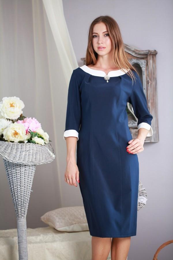 Плаття 165 темно-синій / білий